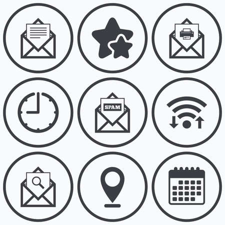 webmail: Clock, wifi and stars icons. Mail envelope icons. Print message document symbol. Post office letter signs. Spam mails and search message icons. Calendar symbol. Illustration