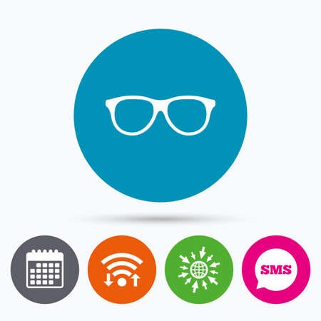 eyeglass: Wifi, Sms and calendar icons. Retro glasses sign icon. Eyeglass frame symbol. Go to web globe.