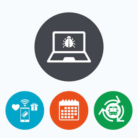ultrabook: Laptop virus sign icon. Notebook software bug symbol. Mobile payments, calendar and wifi icons. Bus shuttle.