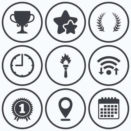 fire place: Clock, wifi and stars icons. First place award cup icons. Laurel wreath sign. Torch fire flame symbol. Prize for winner. Calendar symbol.