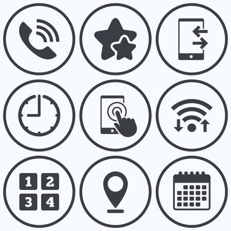 touch screen phone: Clock, wifi and stars icons. Phone icons. Touch screen smartphone sign. Call center support symbol. Cellphone keyboard symbol. Incoming and outcoming calls. Calendar symbol. Illustration
