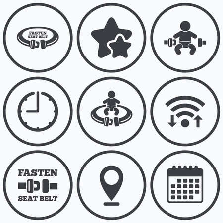 seat belt: Clock, wifi and stars icons. Fasten seat belt icons. Child safety in accident symbols. Vehicle safety belt signs. Calendar symbol. Illustration