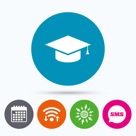 higher quality: Wifi, Sms and calendar icons. Graduation cap sign icon. Higher education symbol. Go to web globe.
