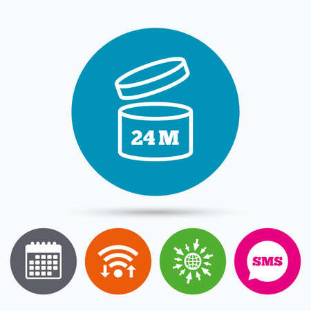expiration: Wifi, Sms and calendar icons. After opening use 24 months sign icon. Expiration date. Go to web globe.