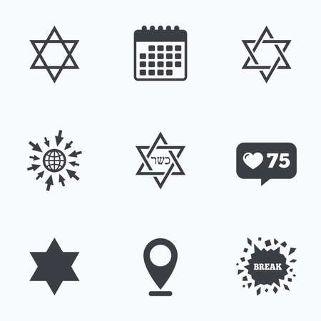 yiddish: Calendar, like counter and go to web icons. Star of David sign icons. Symbol of Israel. Location pointer.