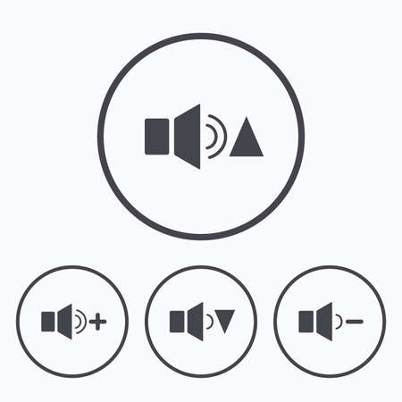 quieter: Player control icons. Sound louder and quieter signs. Dynamic symbol. Icons in circles. Illustration