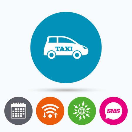 hatchback: Wifi, Sms and calendar icons. Taxi car sign icon. Hatchback symbol. Transport. Go to web globe.