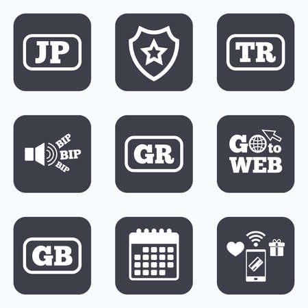 tr: Mobile payments, wifi and calendar icons. Language icons. JP, TR, GR and GB translation symbols. Japan, Turkey, Greece and England languages. Go to web symbol.