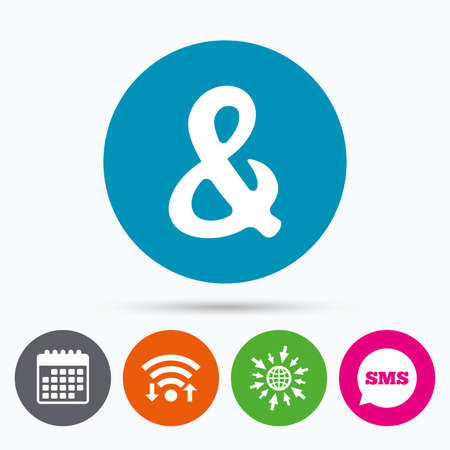logical: Wifi, Sms and calendar icons. Ampersand rounded sign icon. Programming logical operator AND. Wedding invitation symbol. Go to web globe. Illustration
