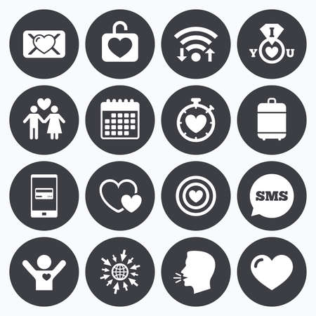 oath: Wifi, calendar and mobile payments. Love, valentine day icons. Target with heart, oath letter and locker symbols. Couple lovers, boyfriend signs. Sms speech bubble, go to web symbols. Illustration