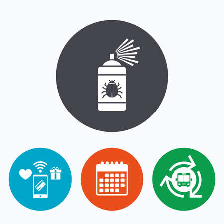 disinfection: Bug disinfection sign icon. Fumigation symbol. Bug sprayer. Mobile payments, calendar and wifi icons. Bus shuttle.