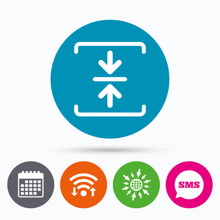 zipped: Wifi, Sms and calendar icons. Archive file sign icon. Compressed zipped file symbol. Arrows. Go to web globe.