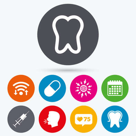 enamel: Wifi, like counter and calendar icons. Tooth enamel protection icons. Medical syringe and pill signs. Medicine injection symbol. Human talk, go to web.