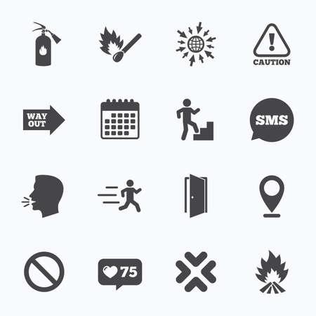 Calendrier, allez à la page Web et de contre comme. Sécurité incendie, les icônes d'urgence. Extincteur, sortie et l'attention des signes. Attention, la goutte d'eau et de sortir des symboles. Sms bulle, symboles de discussion. Banque d'images - 55289707