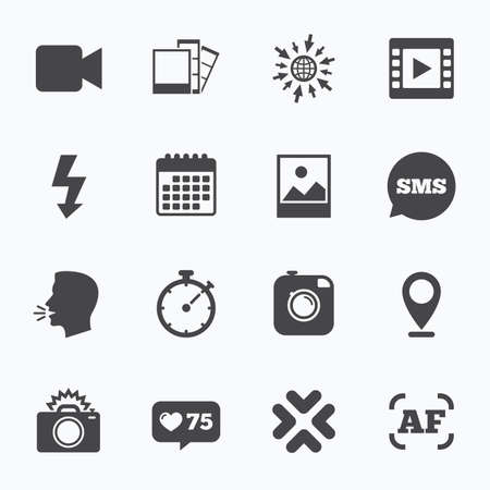 Calendar, go to web and like counter. Photo, video icons. Camera, photos and frame signs. Flash, timer and landscape symbols. Sms speech bubble, talk symbols. Illustration