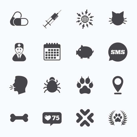 cat suit: Calendar, go to web and like counter. Veterinary, pets icons. Paw, syringe and bone signs. Pills, cat and doctor symbols. Sms speech bubble, talk symbols.