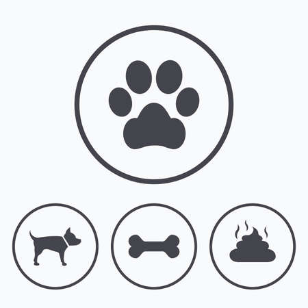 faeces: Pets icons. Dog paw and feces signs. Clean up after pets. Pets food. Icons in circles.