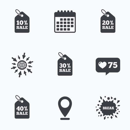 20 30: Calendar, like counter and go to web icons. Sale price tag icons. Discount special offer symbols. 10%, 20%, 30% and 40% percent sale signs. Location pointer. Illustration