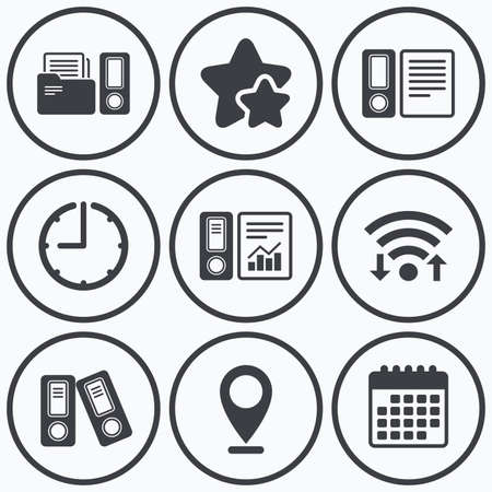 Clock, wifi and stars icons. Accounting report icons. Document storage in folders sign symbols. Calendar symbol.