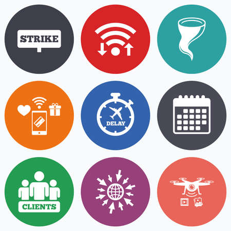 bad weather: Wifi, mobile payments and drones icons. Strike icon. Storm bad weather and group of people signs. Delayed flight symbol. Calendar symbol. Illustration