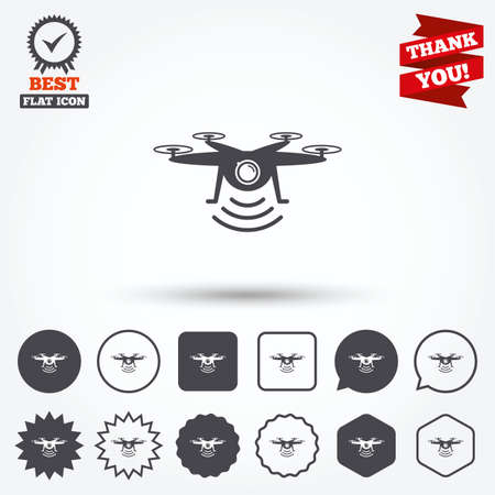 star award: Drone icon. Quadrocopter with action camera symbol. Circle and square buttons. Star labels and award medal. Thank you ribbon. Illustration