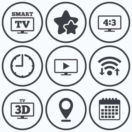 aspect: Clock, wifi and stars icons. Smart TV mode icon. Aspect ratio 4:3 widescreen symbol. 3D Television sign. Calendar symbol.