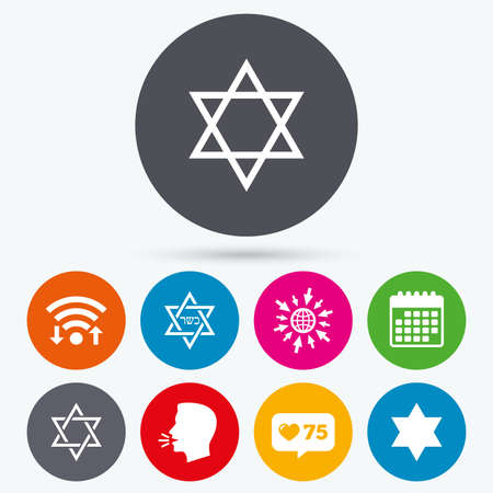 hannukah: Wifi, like counter and calendar icons. Star of David sign icons. Symbol of Israel. Human talk, go to web. Illustration