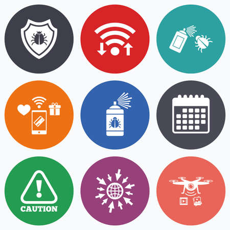 insanitary: Wifi, mobile payments and drones icons. Bug disinfection icons. Caution attention and shield symbols. Insect fumigation spray sign. Calendar symbol.