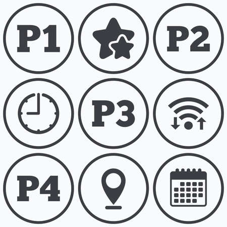 second floor: Clock, wifi and stars icons. Car parking icons. First, second, third and four floor signs. P1, P2, P3 and P4 symbols. Calendar symbol. Illustration