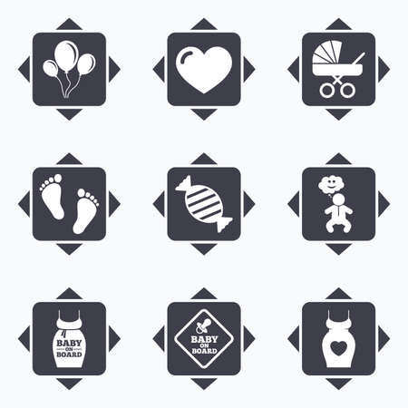 maternity: Icons with direction arrows. Pregnancy, maternity and baby care icons. Newborn, strollers and pacifier signs. Footprint, candy and love symbols. Square buttons.