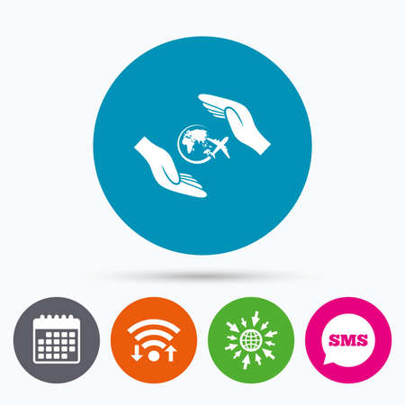 protect globe: Wifi, Sms and calendar icons. Flight trip insurance sign icon. Hands protect cover plane symbol. Travel insurance. Go to web globe.