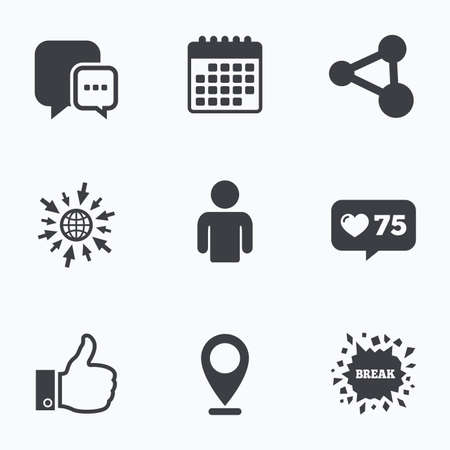 link up: Calendar, like counter and go to web icons. Social media icons. Chat speech bubble and Share link symbols. Like thumb up finger sign. Human person profile. Location pointer. Illustration