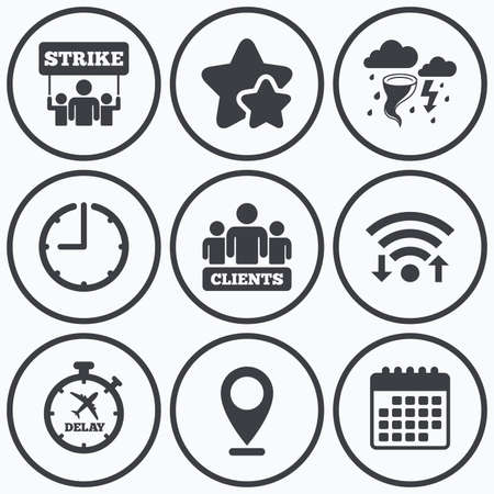 symbols: Clock, wifi and stars icons. Strike icon. Storm bad weather and group of people signs. Delayed flight symbol. Calendar symbol.