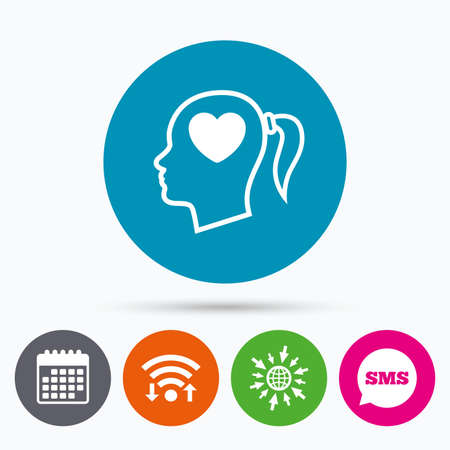 pigtail: Wifi, Sms and calendar icons. Head with heart sign icon. Female woman human head in love with pigtail symbol. Go to web globe.
