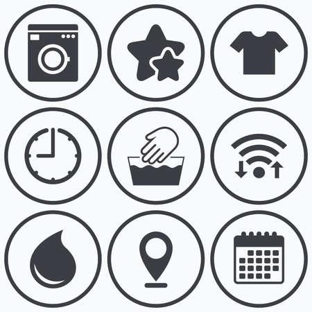 Clock, Wi-Fi und Sterne Symbole. Wash-Maschine-Symbol. Handwäsche. T-Shirt Kleidung Symbol. Wäschewaschhaus und Wassertropfen Zeichen. Nicht maschinenwaschbar. Kalender-Symbol.