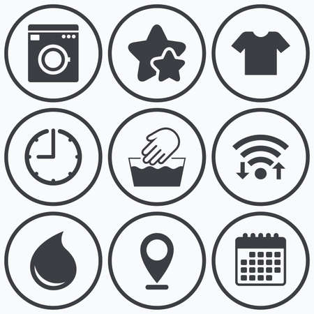 washhouse: Clock, wifi and stars icons. Wash machine icon. Hand wash. T-shirt clothes symbol. Laundry washhouse and water drop signs. Not machine washable. Calendar symbol.
