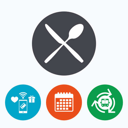 crosswise: Eat sign icon. Cutlery symbol. Knife and spoon crosswise. Mobile payments, calendar and wifi icons. Bus shuttle.