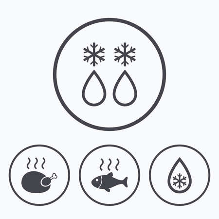 warm water fish: Defrosting drop and snowflake icons. Hot fish and chicken signs. From ice to water symbol. Icons in circles. Illustration
