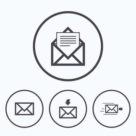 outbox: Mail envelope icons. Message document delivery symbol. Post office letter signs. Inbox and outbox message icons. Icons in circles.
