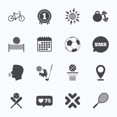 medal like: Calendar, go to web and like counter. Sport games, fitness icons. Football, basketball and tennis signs. Golf, bike and winner medal symbols. Sms speech bubble, talk symbols.