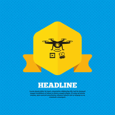 yellow photo: Drone icon. Quadrocopter with video and photo camera symbol. Yellow label tag. Circles seamless pattern on back. Illustration