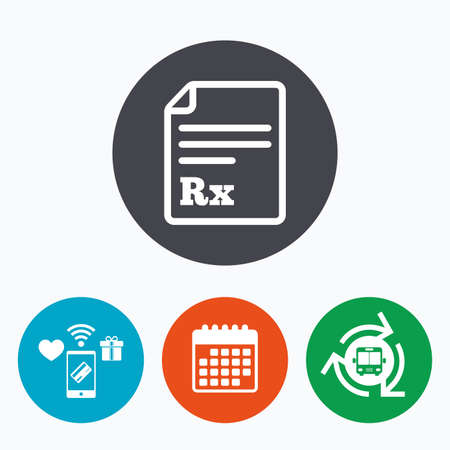 rx: Medical prescription Rx sign icon. Pharmacy or medicine symbol. Mobile payments, calendar and wifi icons. Bus shuttle.
