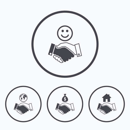 amicable: Handshake icons. World, Smile happy face and house building symbol. Dollar cash money bag. Amicable agreement. Icons in circles.