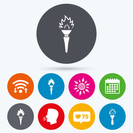 hand tool: Wifi, like counter and calendar icons. Torch flame icons. Fire flaming symbols. Hand tool which provides light or heat. Human talk, go to web.