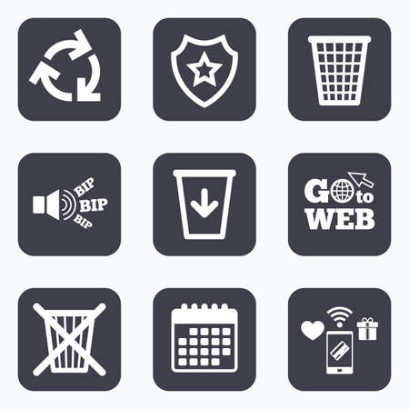 utilization: Mobile payments, wifi and calendar icons. Recycle bin icons. Reuse or reduce symbols. Trash can and recycling signs. Go to web symbol.