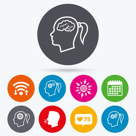button icons: Wifi, like counter and calendar icons. Head with brain icon. Female woman think symbols. Cogwheel gears signs. Human talk, go to web. Illustration