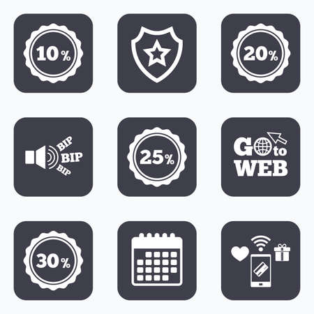 20 to 25: Mobile payments, wifi and calendar icons. Sale discount icons. Special offer stamp price signs. 10, 20, 25 and 30 percent off reduction symbols. Go to web symbol.