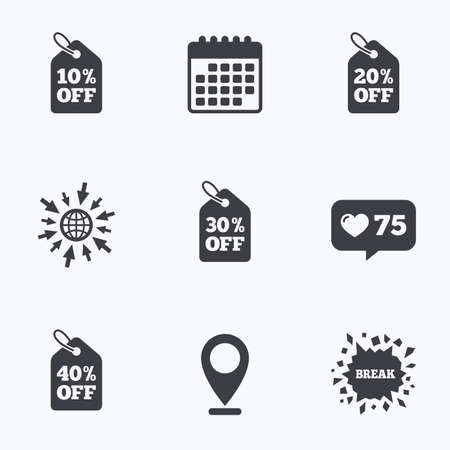 reductions: Calendar, like counter and go to web icons. Sale price tag icons. Discount special offer symbols. 10%, 20%, 30% and 40% percent off signs. Location pointer.