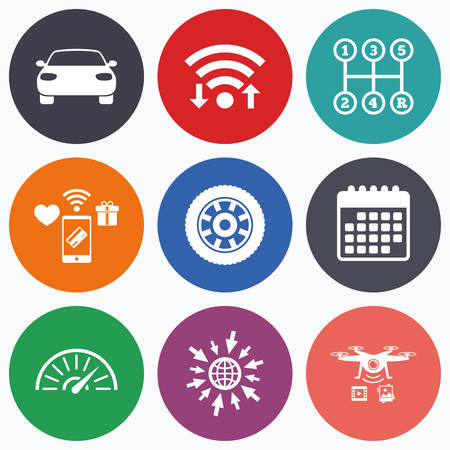 tachometer: Wifi, mobile payments and drones icons. Transport icons. Car tachometer and mechanic transmission symbols. Wheel sign. Calendar symbol. Illustration