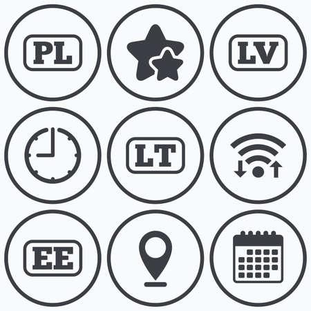 pl: Clock, wifi and stars icons. Language icons. PL, LV, LT and EE translation symbols. Poland, Latvia, Lithuania and Estonia languages. Calendar symbol. Illustration